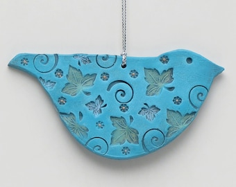 Bird ornament, ceramic, turquoise blue,blue, handmade,Whimsical Sculpture,home decor