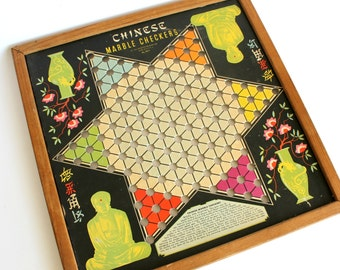 Vintage Chinese Checkers Game Board Asian Oriental Whitman