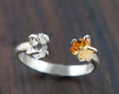 Citrine Herkimer Ring, Silver Double Stone Ring, Rough Quartz Jewelry