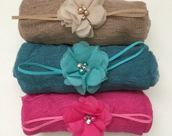 Baby Headband Wrap Set Newborn Headband Swaddle Cheesecloth Blanket Wrap Flower Headband Chiffon Headband Infant Headband Photo Prop Baby
