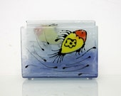Fused Glass napkin Holder, Red yellow Fish in blue  sea View