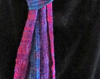 SCARF Long, Handwoven, Hand dyed, Rich Colors, Ruby, Amethyst, Sapphire Brighten Up your Outfit