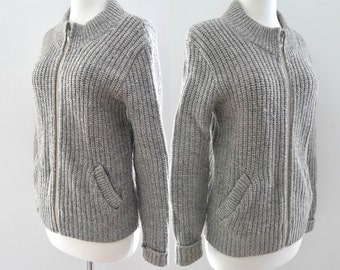 Chunky Knit Cardigan Ragg Wool Zipper Sweater Two Pockets Winter Fisherman's Top Warm Grey Heathered Oatmeal Size Med