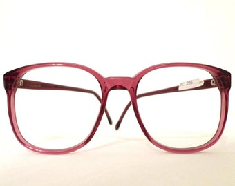 Log Lady Eyeglasses Frame Big Wine Burgundy Round USA Mod Vintage 80s Eyeglasses Sunglasses Panto P3 NOS 80s Bug Eye Bubble DIsco Granny