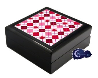 Valentine's Day Heart Argyle - Jewelry and Keepsake Box