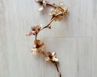 Gold Fairy Arm cuff Flower wrap Boho bracelet Prom accessories Woodland vine ArmBand Bridal corsage wedding accessories hair braid Garland