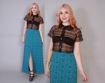 Vintage 70s MAXI SKIRT / 1970s High Waist Blue & Green Knit Slit Skirt XS - S