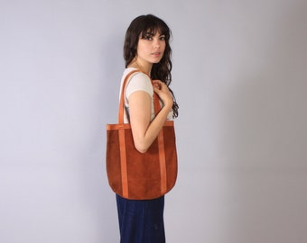 Vintage 60s LEATHER Tote / 1960s Rusty Brown Suede & Leather Purse