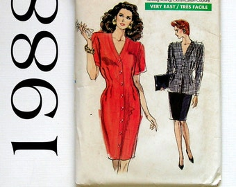 Misses' Dress, Pencil Skirt, and Jacket - Vogue 7245 - Vintage Sewing Pattern, Sizes 12, 14, and 16