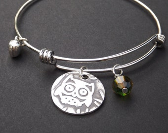 Owl Charm Bangle Bracelet, Owl jewelry, Owl Lover gift, Expandable Bangle Bracelet
