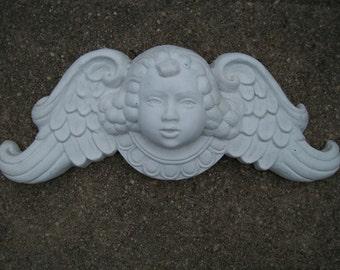 Antique Victorian Gothic Angel White Wall Angel Cherub Plaque