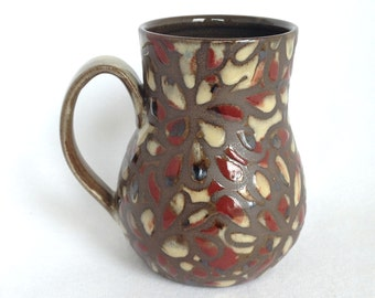 18 oz Sand and Red Speckled Floral Mug , Free Shipping