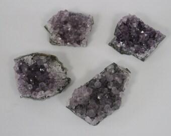 Set of 4 Freeform Amethyst Geode Crystal Cluster Magnets / Fridge Magnets / Hostess Gift