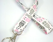 Lanyard - ID Holder Comes with Swivel Lobster Claw and Key Ring-Mini Zoologie Owls Gray and Pink