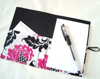 Honey Do List Taker Grocery List / Comes with Note Pad and Pen  Hot Pink and Black Damask