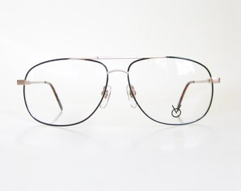 Vintage 1970s Aviator Eyeglasses Mens Guys Home Glasses Sunglasses Deadstock Optical Frames 70s Seventies Deadstock NOS Black Gold Wire Rim