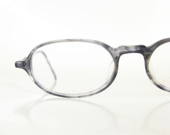 Grey Tortoiseshell Reading Glasses Womens Readers Oval Boxy 1980s Indie Hipster Deadstock Vintage Retro NOS New Old Stock Geek Chic