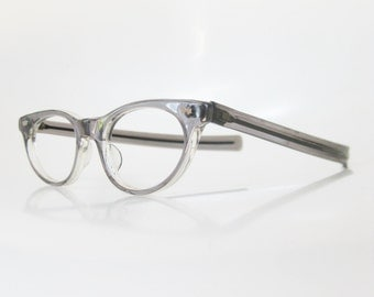Vintage 1960s Cat Eye Eyeglasses Grey Glasses Womens Ladies 1950s 50s Fifties Mid Century Modern Charcoal Smoke Classic Pin Up Sexy
