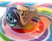 Eye Ring - Evil Eye Ring - Evil Eye Jewelry - Mod Psychedelic Ring -Over sized Statement Ring - Chunky Ring - Clay Ring - Size 7