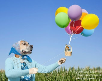 Balloon Ride, original large photograph of Boxer dog wearing vintage clothes giving a balloon ride to a monarch butterfly