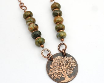 """Rhyolite tree necklace with beads, green and white, etched copper, 20 3/4"""" long"""