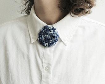 Indigo crochet Dahlia brooch