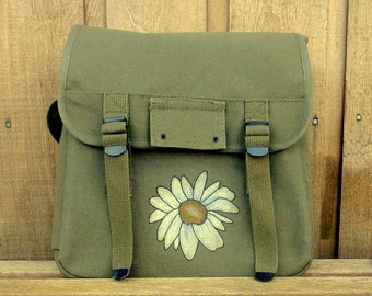 Grunge Daisy on Small Canvas Mesenger Bag Backpack Rucksack - Hand Painted