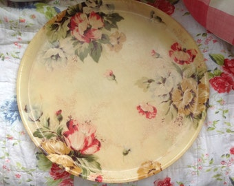 Vintage French Fibreglass Floral Tray