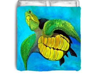 Sea Turtle comforter from my art
