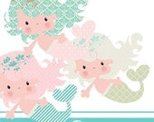 Cute mermaid cliparts - COMMERCIAL USE OK