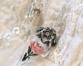 Antique Pink Rose Flower Glass Terrarium Necklace by Woodland Belle