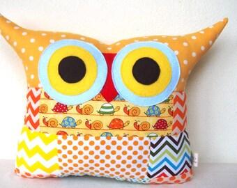 THANKSGIVING DECOR/Patchwork/yellow/orange/blue/Owl pillow/Ready to ship (large size)