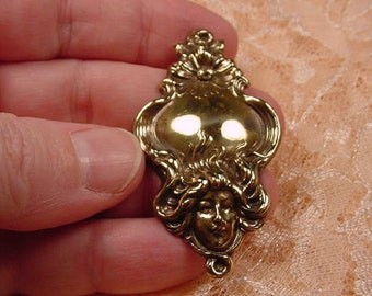 Woman with flowing daisy flowering hair brass pin pendant brooch B-WOM-7