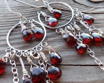 Amazing Garnet Genuine Gemstone Chandelier Long Statement Dangle Sterling Silver Earrings