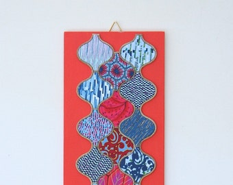 Moroccan Style Wall Hanging Picture 2 - Handmade Unusual Polymer Clay Quilt design on wooden base