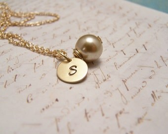 Yellow Pearl and Initial Necklace... Bride... Bridesmaid... Minimalist... custom personalized