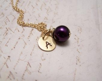 Dark Purple Pearl and Initial Necklace... Bride... Bridesmaid... Minimalist... custom personalized
