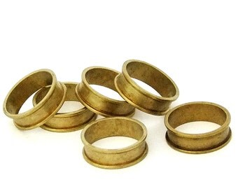 """Raw Brass Ring Blanks 1/4""""  Wide Size 8 With Channel  Pkg Of 6"""