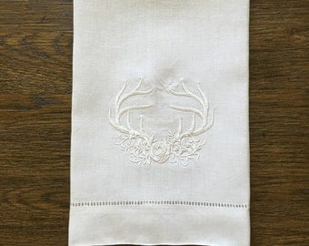 Embroidered Woodland Antlers Tea Towel, set of two