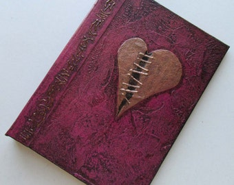 Handmade Refillable Journal Pink Stitched Heart  7x5 Original