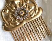Floral Gold Swarovski Crystal Hair Comb