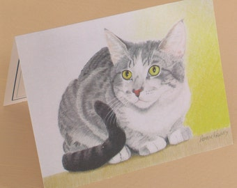 Colored Pencil Tabby Cat Blank Greeting Card/Blank Greeting Card