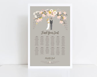 PRINTABLE Seating Chart // Vintage Wedding // Wedding Portrait // Reception Seating Chart // Assigned Seating // DIGITAL