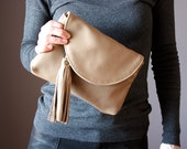 Small leather clutch,  leather purse, Multi Pockets Leather Wallet, leather fringe tassel, very soft Nude Beige cowhide , credit card slots