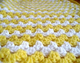Crochet Baby Blanket Yellow White Blanket Baby Shower Gift Christmas Gift Newborn Unisex Baby Gift