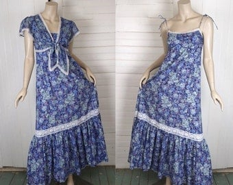 70s Sundress in Blue Flowers- 1970s Floral Print Dress w/ Empire Waist Maxi + Bolero- Hippie Festival / Boho / Prairie / Granny
