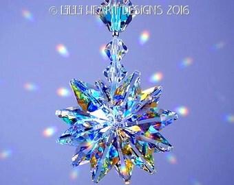 m/w Swarovski Crystal Aurora Borealis Suncatcher *LILY* Octagons Star Pendant or Car Charm Ornament Starburst by Lilli Heart Designs