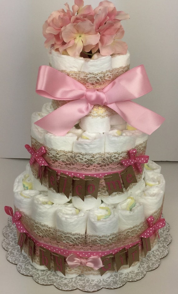 pink and gold baby shower diaper cake pink gold baby shower