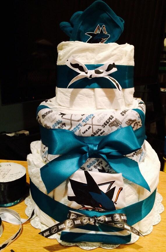 San Jose Sharks Baby Diaper Cake San Jose By Diapercakesbyruby