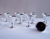 12 Silver Goblets Miniature Toppers Decorations Plastic 1 inch